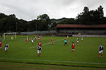 Vale of Leven 3 Ashfield 4, 03/09/2016. Millburn Park, West of Scotland League Central District Second Division. Second-half action at Millburn Park, Alexandria, as Vale of Leven (in blue) hosted Ashfield in a West of Scotland League Central District Second Division Junior fixture. Vale of Leven were one of the founder members of the Scottish League in 1890 and remained part of the SFA and League structure until 1929 when the original club folded, only to be resurrected as a member of the Scottish Junior Football Association after World War II. They lost the match to Ashfield by 4-3, having led 3-1 with 10 minutes remaining. Photo by Colin McPherson.