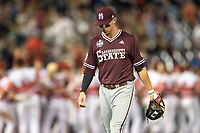 Mississippi State Bulldogs shortstop Jordan Westburg (11) walks off the field following Game 10 of the NCAA College World Series against the Louisville Cardinals on June 20, 2019 at TD Ameritrade Park in Omaha, Nebraska. Louisville defeated Mississippi State 4-3. (Andrew Woolley/Four Seam Images)