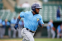 Tampa Bay Rays Luis Rengifo (54) runs to first base during an Instructional League game against the Baltimore Orioles on October 5, 2017 at Ed Smith Stadium in Sarasota, Florida.  (Mike Janes/Four Seam Images)