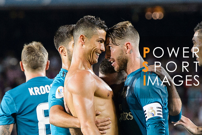 Cristiano Ronaldo of Real Madrid (L) celebrating his score with Sergio Ramos (R) during the Supercopa de Espana Final 1st Leg match between FC Barcelona and Real Madrid at Camp Nou on August 13, 2017 in Barcelona, Spain. Photo by Marcio Rodrigo Machado / Power Sport Images