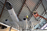 BNPS.co.uk (01202 558833)<br /> Pic: RAFMuseumCosford/BNPS<br /> <br /> Gloster Meteor gets a clean.<br /> <br /> Prop Dusting - The annual spring clean of the stunning aircraft hall at the RAF Museum at Cosford has begun.<br /> <br /> A crack team of aerial cleaners are abseiling over the historic aircraft, some of which are suspended up to a hundred feet above the museum floor, all week to clean away any residue dust and check over the suspension cables.