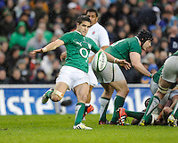 Conor Murray of Ireland sends up a box kick during the RBS 6 Nations match between Ireland and England at the Aviva Stadium, Dublin on Sunday 10 February 2013 (Photo by Rob Munro)