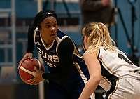 TaYani Clark of Sevenoaks Suns during the WBBL Championship match between Sevenoaks Suns and Newcastle Eagles at Surrey Sports Park, Guildford, England on 20 March 2021. Photo by Liam McAvoy