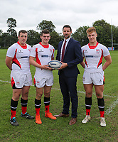Ulster Rugby Schools 2018-2019<br /> <br /> Royal School Armagh  players Sam Rainey, Jonathan Agnew and Jude Roberts with Danske Bank representative Ian Russell.<br /> <br /> Photo by John Dickson / DICKSONDIGITAL