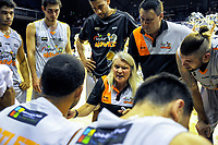 Hawks coach Kristin Daly Taylor talks to her team during during the national basketball league match between Wellington Saints and Taylor Hawks at TSB Bank Arena in Wellington, New Zealand on Friday, 17 March 2017. Photo: Dave Lintott / lintottphoto.co.nz
