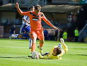 KILMARNOCK'S CAMERON BELL SAVES AT THE FEET OF DUNDEE UTD'S DAVID GOODWILLIE