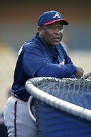 Atlanta Braves coach Terry Pendleton before a 2002 MLB season game against the Los Angeles Dodgers at Dodger Stadium, in Los Angeles, California. (Larry Goren/Four Seam Images)