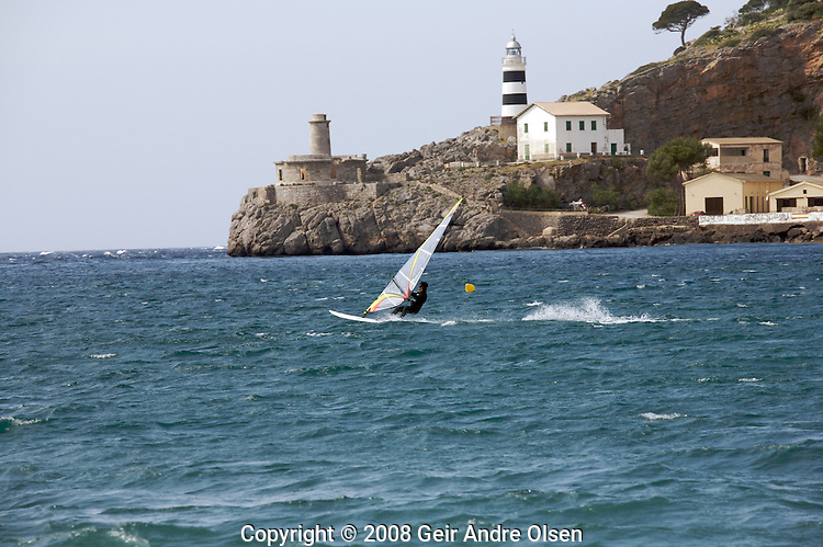 Windsurfer jumping at Port Soller at Majorca, Spain