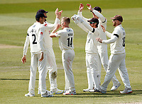 16th April 2021; Emirates Old Trafford, Manchester, Lancashire, England; English County Cricket, Lancashire versus Northants; Luke Wood of Lancashire celebrates with his team mates after his dismissal of Ricardo Vasconcelos of Northamptonshire