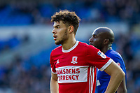 Rudy Gestede of Middlesbrough during the Sky Bet Championship match between Cardiff City and Middlesbrough at the Cardiff City Stadium, Cardiff, Wales on 17 February 2018. Photo by Mark Hawkins / PRiME Media Images.