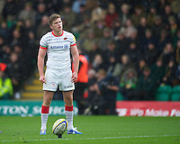20121027 Copyright onEdition 2012©.Free for editorial use image, please credit: onEdition..Owen Farrell of Saracens prepares to take a penalty kick during the Aviva Premiership match between Northampton Saints and Saracens at Franklin's Gardens on Saturday 27th October 2012 (Photo by Rob Munro)..For press contacts contact: Sam Feasey at brandRapport on M: +44 (0)7717 757114 E: SFeasey@brand-rapport.com..If you require a higher resolution image or you have any other onEdition photographic enquiries, please contact onEdition on 0845 900 2 900 or email info@onEdition.com.This image is copyright the onEdition 2012©..This image has been supplied by onEdition and must be credited onEdition. The author is asserting his full Moral rights in relation to the publication of this image. Rights for onward transmission of any image or file is not granted or implied. Changing or deleting Copyright information is illegal as specified in the Copyright, Design and Patents Act 1988. If you are in any way unsure of your right to publish this image please contact onEdition on 0845 900 2 900 or email info@onEdition.com