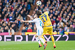 Daniel Carvajal Ramos of Real Madrid (L) fights for the ball with Mario Mandzukic of Juventus (R) during the UEFA Champions League 2017-18 quarter-finals (2nd leg) match between Real Madrid and Juventus at Estadio Santiago Bernabeu on 11 April 2018 in Madrid, Spain. Photo by Diego Souto / Power Sport Images