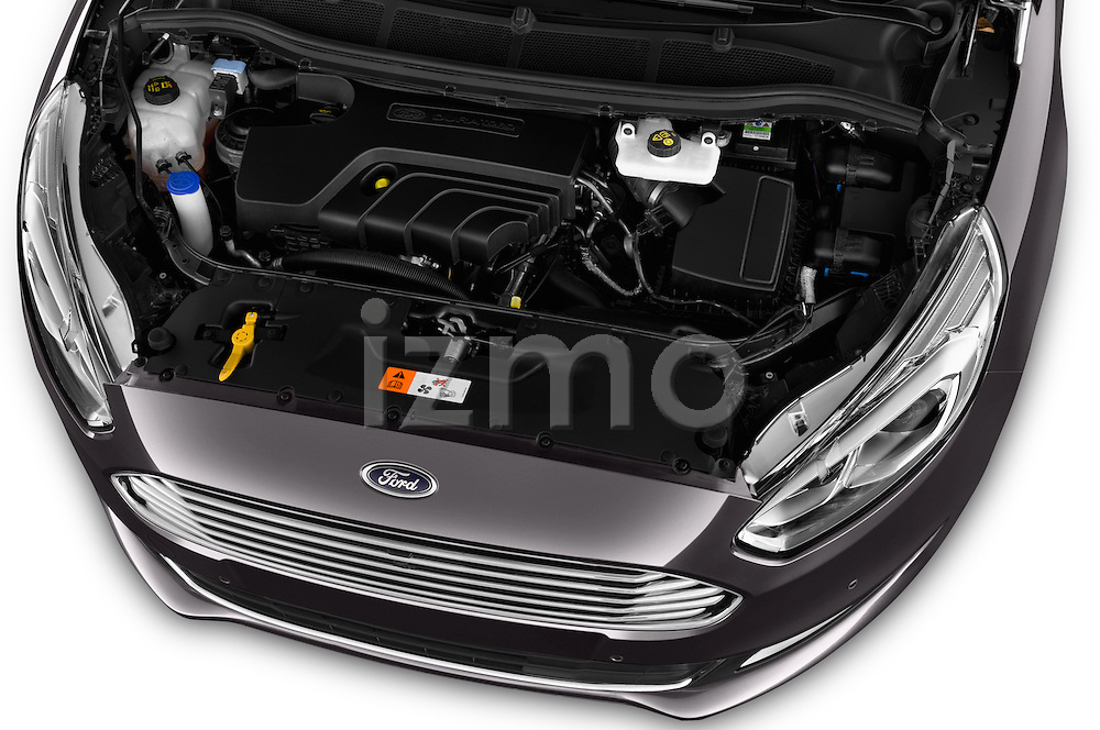 Car Stock 2016 Ford Galaxy Titanium 5 Door Minivan Engine  high angle detail view