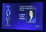 Special Tony Award achievement in the Theatre to Andrew Lloyd Webber mentioned during the 2018 Tony Awards Nominations Announcement at The New York Public Library for the Performing Arts on May 1, 2018 in New York City.