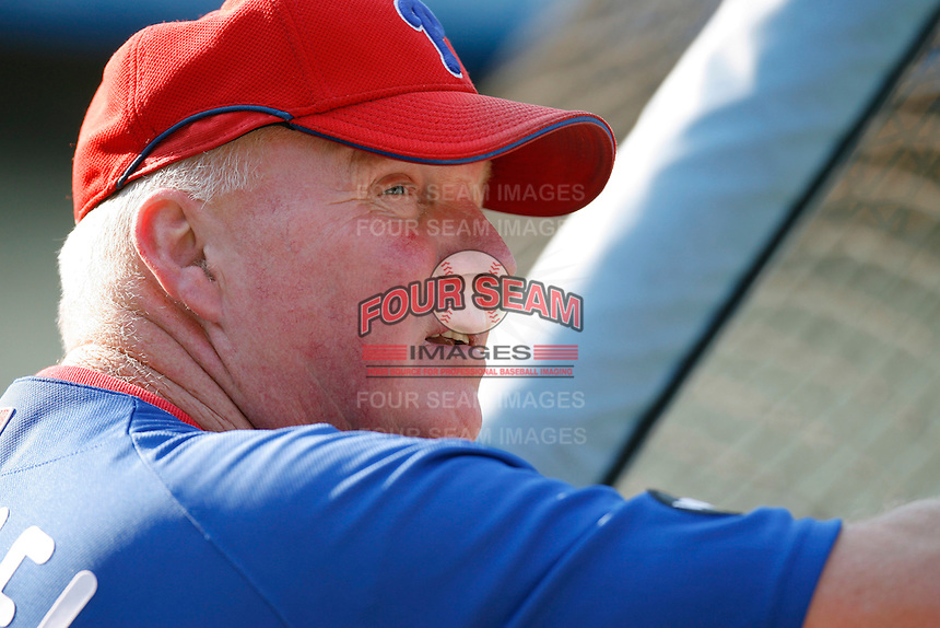 Philadelphia Phillies Manager Charlie Manuel during batting practice before a game against the Los Angeles Dodgers in a 2007 MLB season game at Dodger Stadium in Los Angeles, California. (Larry Goren/Four Seam Images)