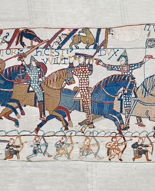 Bayeux Tapestry scene 55:  Duke William raises his visor to show that a rumour he was killed is un-true.