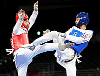 210724 -- TOKYO, July 24, 2021 -- Lucas Lautaro Guzman L of Argentina competes with Vito Dell aquila of Italy during the men s 58kg taekwondo semifinall match at the Tokyo 2020 Olympic Games, Olympische Spiele, Olympia, OS in Tokyo, Japan, July 24, 2021.  TOKYO2020JAPAN-TOKYO-OLY-TAEKWONDO WangxYuguo PUBLICATIONxNOTxINxCHN <br /> Photo XINHUA / Imago  / Insidefoto ITALY ONLY
