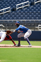 GCL Mets first baseman Warren Saunders (11) stretches for a throw during a Gulf Coast League game against the GCL Nationals on August 12, 2019 at FITTEAM Ballpark of the Palm Beaches in Palm Beach, Florida.  GCL Nationals defeated the GCL Mets 7-3.  (Mike Janes/Four Seam Images)