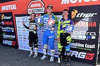 MXD Podium (L-R) 2nd - Cooper Pozniak ; 1st - Connor Tierney and 3rd - Kaleb Barham<br /> 2016 MX Nationals / Round 1 / MXD<br /> Australian Motocross Championships<br /> Horsham VIC Sunday 3 April 2016<br /> © Sport the library / Jeff Crow