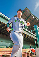 8 July 2015: Vermont Lake Monsters catcher Seong-min Kim steps out of the dugout prior to a game against the Mahoning Valley Scrappers at Centennial Field in Burlington, Vermont. The Lake Monsters defeated the Scrappers 9-4 to open the home game series of NY Penn League action. Mandatory Credit: Ed Wolfstein Photo *** RAW Image File Available ****
