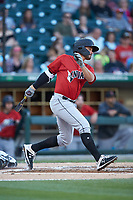 Kevin Kramer (17) of the Indianapolis Indians follows through on his swing against the Charlotte Knights at BB&T BallPark on April 27, 2019 in Charlotte, North Carolina. The Indians defeated the Knights 8-4. (Brian Westerholt/Four Seam Images)