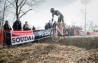 Tom Meeusen (BEL/Telenet-Fidea) jumping the ditch<br /> <br /> Men's Race<br /> CX Soudal Classics Leuven/Belgium 2017