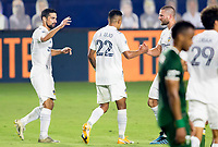 CARSON, CA - OCTOBER 07: Julian Araujo #22, Sebastian Lletget #17 and Perry Kitchen #2of the Los Angeles Galaxy celebrate during a game between Portland Timbers and Los Angeles Galaxy at Dignity Heath Sports Park on October 07, 2020 in Carson, California.