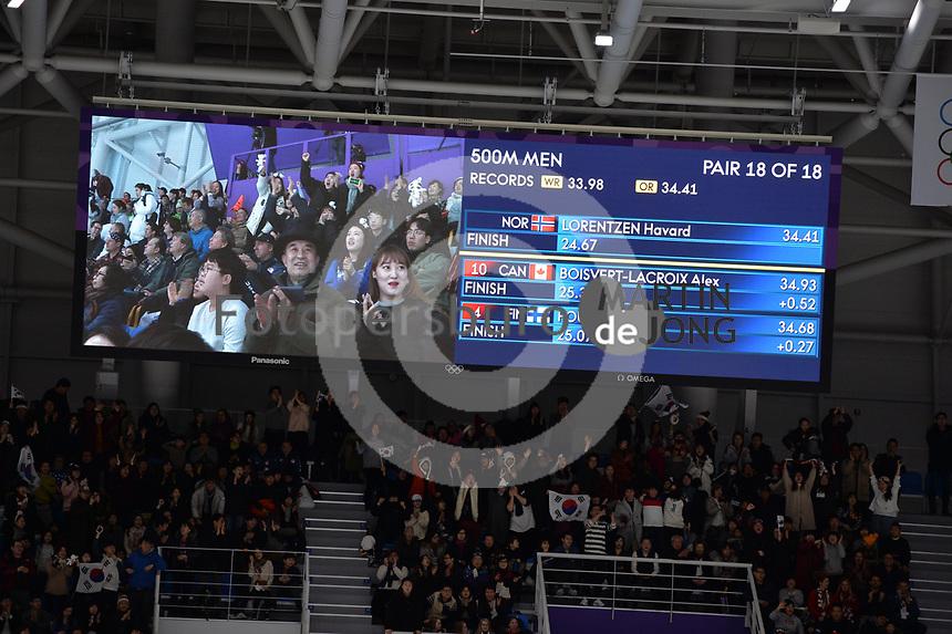 OLYMPIC GAMES: PYEONGCHANG: 19-02-2018, Gangneung Oval, Long Track, 500m Men, Result Pair 18, ©photo Martin de Jong
