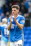 St Johnstone v Aberdeen…15.09.18…   McDiarmid Park     SPFL<br />Ross Callachan who made his saints debut aplauds the fans at full time<br />Picture by Graeme Hart. <br />Copyright Perthshire Picture Agency<br />Tel: 01738 623350  Mobile: 07990 594431
