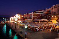 Chania Old Town. Western Crete. Greece. The Venetian Harbor and The Mosque of The Janissaries at Dusk.
