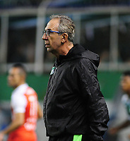 PALMIRA - COLOMBIA - 31 - 03 - 2018: Gerardo Pelusso, técnico de Deportivo Cali, durante partido entre Deportivo Cali y el Independiente Santa Fe, de la fecha 12 por la liga Aguila I 2018, jugado en el estadio Deportivo Cali (Palmaseca) en la ciudad de Palmira. / Gerardo Pelusso, coach of Deportivo Cali, during a match between Deportivo Cali and Independiente Santa Fe, of the 12th date for the Liga Aguila I 2018, at the Deportivo Cali (Palmaseca) stadium in Palmira city. Photo: VizzorImage  / Nelson Rios / Cont.
