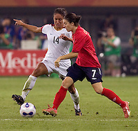 Karen Carney, Stephanie Lopez. The USA defeated England, 3-0 during the quarterfinals of the FIFA Women's World Cup in Tianjin, China.  The USA defeated England, 3-0.