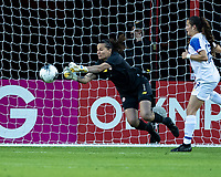 HOUSTON, TX - JANUARY 31: Maria Bermudez #1 of Costa Rica makes a save during a game between Haiti and Costa Rica at BBVA Stadium on January 31, 2020 in Houston, Texas.