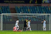 3rd July 2021, Estádio Olímpico Pedro Ludovico stadium, Goiânia, Brazil: Copa America Football tournament, Argentina versus Ecuador;   Lautaro Martínez of Argentina celebrates his teams goal with Lionel Messi