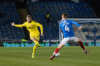 Fleetwood Town's Jack Sowerby (left) crosses the ball despite the attentions of Portsmouth's Tom Naylor (right) <br /> <br /> Photographer David Horton/CameraSport<br /> <br /> The EFL Sky Bet League One - Portsmouth v Fleetwood Town - Tuesday 10th March 2020 - Fratton Park - Portsmouth<br /> <br /> World Copyright © 2020 CameraSport. All rights reserved. 43 Linden Ave. Countesthorpe. Leicester. England. LE8 5PG - Tel: +44 (0) 116 277 4147 - admin@camerasport.com - www.camerasport.com