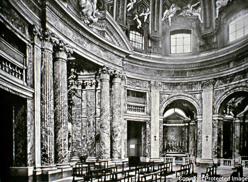 The Church of Saint Andrew's at the Quirinal in Rome, Italy, built for the Jesuit seminary on the Quirinal Hill. Example of Roman Baroque architecture, designed by Gian Lorenzo Bernini with Giovanni de'Rossi.