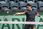 Roger Federer (SUI) wins at Roland Garros in Paris, France on May 30, 2012