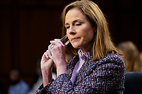 United States Supreme Court nominee Amy Coney Barrett arrives for her confirmation hearing before the Senate Judiciary Committee, Wednesday, Oct. 14, 2020, on Capitol Hill in Washington.<br /> CAP/MPI/RS<br /> ©RS/MPI/Capital Pictures