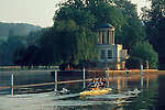 Rowing, Henley on Thames, A four with out coxswain rowing past the Temple Island on England's famous Henley Royal Regatta course, Thames River, England, Great Britain, UNited Kingdom, Europe,