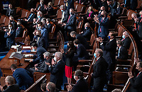 Republican members of Congress applaud as an objection is made to the slate of electors from the state of Arizona during a joint session of Congress to count the electoral votes for President at the US Capitol in Washington, DC, January 6, 2021.<br /> Credit: Saul Loeb / Pool via CNP/AdMedia