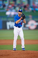Tulsa Drillers relief pitcher Michael Johnson (3) gets ready to deliver a pitch during a game against the Corpus Christi Hooks on June 3, 2017 at ONEOK Field in Tulsa, Oklahoma.  Corpus Christi defeated Tulsa 5-3.  (Mike Janes/Four Seam Images)