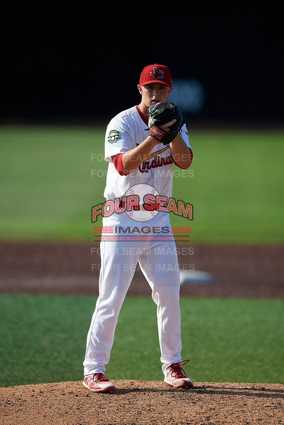 Johnson City Cardinals starting pitcher Colin Schmid (11) gets ready to deliver a pitch during a game against the Danville Braves on July 29, 2018 at TVA Credit Union Ballpark in Johnson City, Tennessee.  Johnson City defeated Danville 8-1.  (Mike Janes/Four Seam Images)