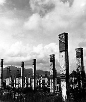 General view of buildings in the suburbs of Seoul, Korea, destroyed by artillery and air strikes.  August 20, 1951.  G. Dimitri Boria. (Army)<br /> NARA FILE #:  111-SC-386809<br /> WAR & CONFLICT BOOK #:  1505