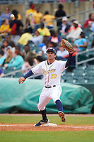Montgomery Biscuits first baseman Patrick Leonard (20) stretches for a throw during a game against the Jackson Generals on April 29, 2015 at Riverwalk Stadium in Montgomery, Alabama.  Jackson defeated Montgomery 4-3.  (Mike Janes/Four Seam Images)