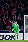 Goalkeeper Stephan Andersen of FC Copenhague reacts during the UEFA Europa League 2017-18 Round of 32 (2nd leg) match between Atletico de Madrid and FC Copenhague at Wanda Metropolitano  on February 22 2018 in Madrid, Spain. Photo by Diego Souto / Power Sport Images
