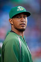 Daytona Tortugas pitcher Kevin Canelon (29) in the dugout during a game against the St. Lucie Mets on August 3, 2018 at First Data Field in Port St. Lucie, Florida.  Daytona defeated St. Lucie 3-2.  (Mike Janes/Four Seam Images)