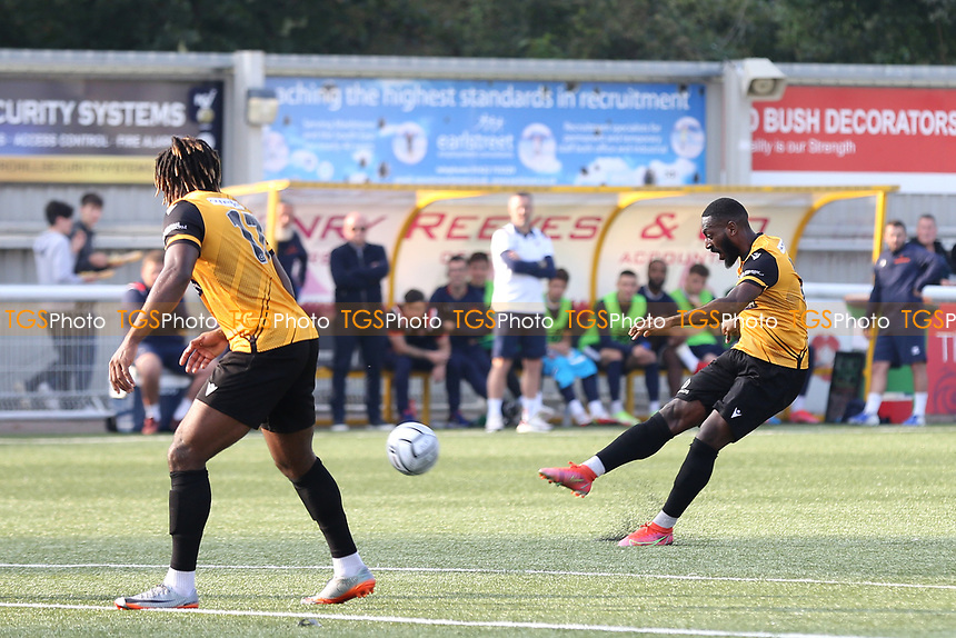 Roarie Deacon of Maidstone United hits a long range shot which struck the Eastbourne Borough crossbar during Maidstone United vs Eastbourne Borough, Vanarama National League South Football at the Gallagher Stadium on 9th October 2021