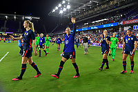 ORLANDO, FL - MARCH 05: Ali Krieger #11 and the USWNT celebrate during a game between England and USWNT at Exploria Stadium on March 05, 2020 in Orlando, Florida.