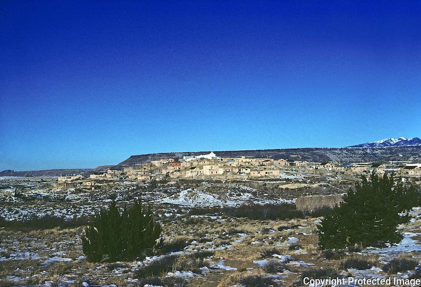 Laguna: The Laguna Pueblo, reservation of Native American tribe. (45 miles west of Albuquerque, N.M. ) Panoramic view. Photo '77.