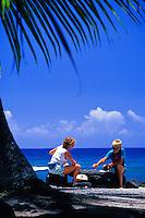 People at City of Refuge, Puuhonua O Honaunau, Big Island of Hawaii
